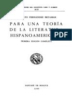Fernández Retamar- Para Una Teoría de La Literatura Hispanoamericana