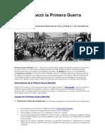 Cómo Empezó La Primera Guerra Mundial