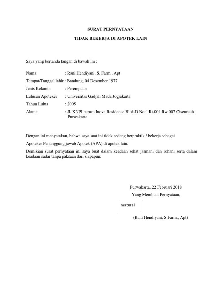 Surat Pernyataan Tidak Bekerja Di Tempat Lain