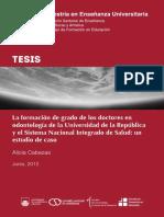 Cabezas, A - La Formacion de Grado de Los Doctores en Odontologia en La Universidad de La Republica y El Snis, Un Estudio de Caso