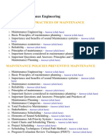 Manintenance Engineering - Lecture Notes, Study Material and Important Questions, Answers