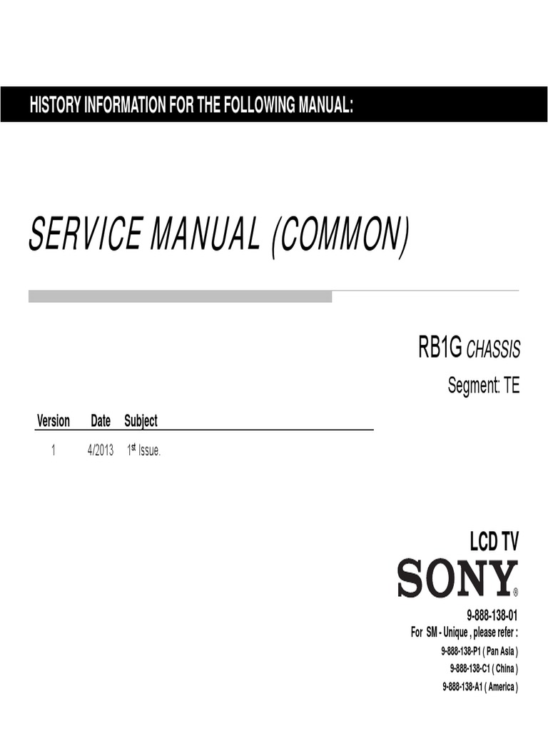SONY KDL-46W950A Service Manuals.pdf | Electrical Engineering | Electricity