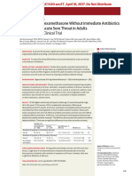 Effect of Oral Dexamethasone Without Immediate Antibiotics vs Placebo on Acute Sore Throat in Adults