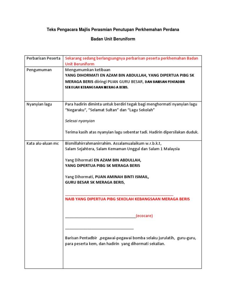 Teks Pengacara Majlis Penutupan Perkhemahan