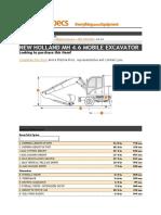 Excavator New Holland Mh 4.6 Specificatii