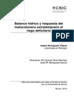 Balance Hídrico y Respuesta Del Melocotonero Extratemprano Al Riego Deficitario