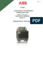 Spec Transfo Huile 630 KVA - Non Eco Design