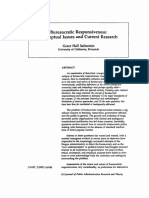 Bureaucratic Responsiveness Conceptual Issues and Current Research