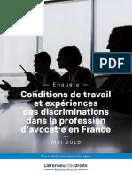 Conditions de travail et expériences des discriminations dans la profession d'avocat en France