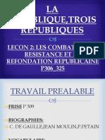 LES COMBATS DE LA RESITANCE ET LA REFONDATION REPUBLICAINE