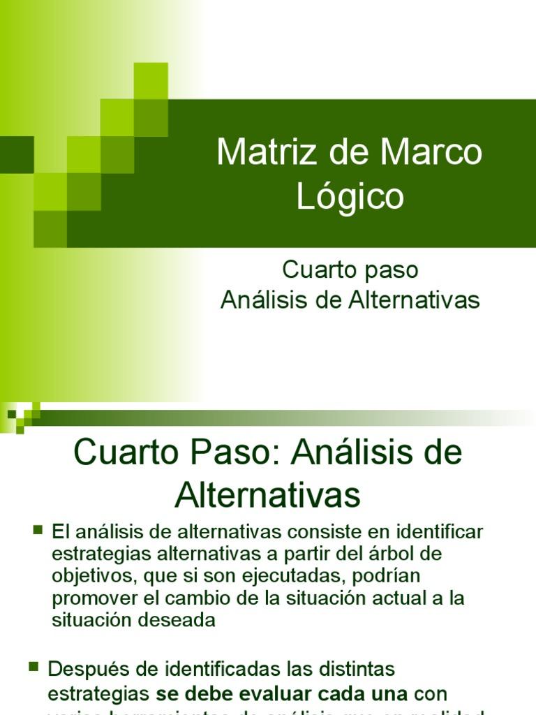 Matriz de Marco Lógico, Análisis de Alternativas