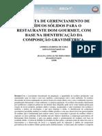 PROPOSTA DE GERENCIAMENTO DE RESÍDUOS SÓLIDOS PARA O RESTAURANTE