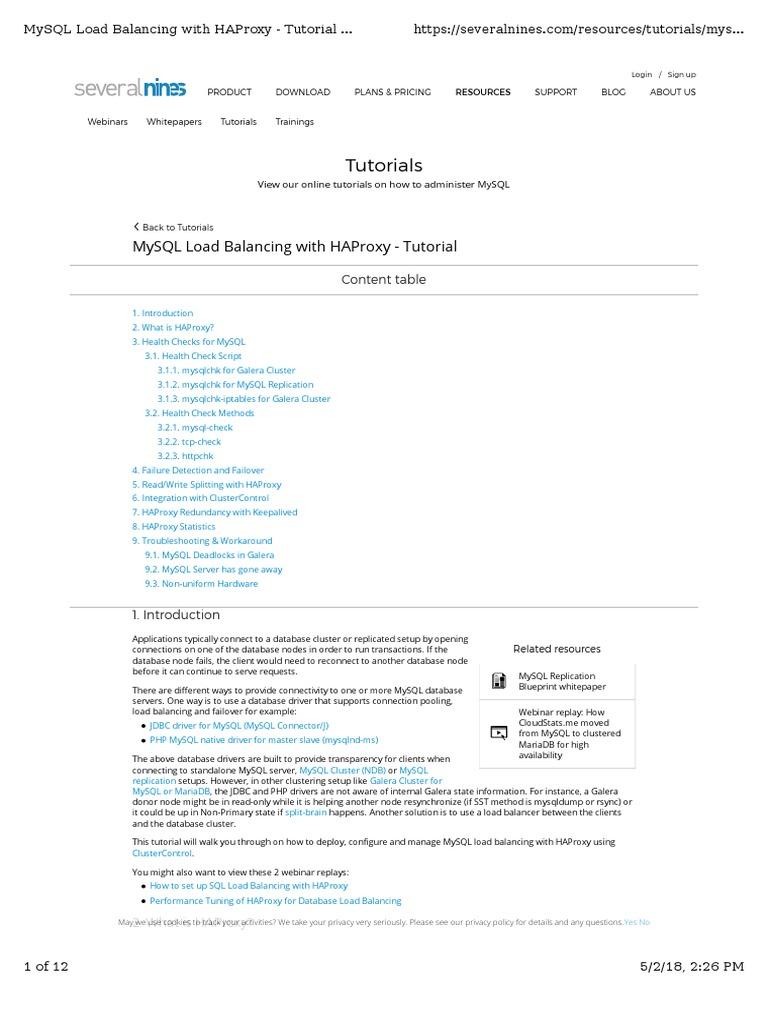 Tutorials: Mysql Load Balancing With Haproxy - Tutorial