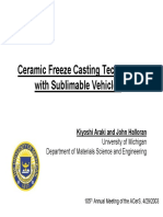 Ceramic Freeze Casting With Sublimeable Vehicles