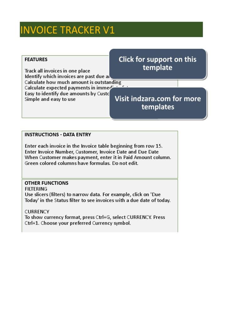 Indzara Invoice Tracker V1 Microsoft Excel Invoice