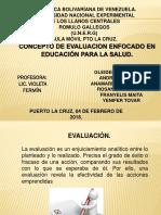 Diapositivas de Educacion Para La Salud Evaluación