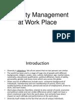 Diversity Management at Work Place