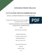 Percepción de La Calidad de Servicio en Los Consumidores de Los Restobares en El Distrito Víctor Larco, 2017