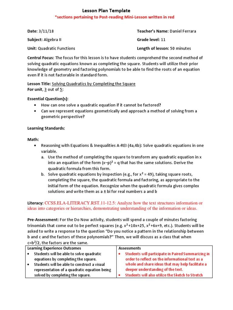 Ferrara Post Reading Lep Quadratic Equation Factorization