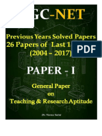 UGCNET Paper1 Previous Years Solved Papers Last 13 Years 2004 2017