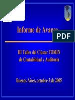 Informe de Avance Del Clúster FOMIN, Contabilidad y Auditoría