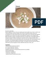 mushroom bisque recipe card