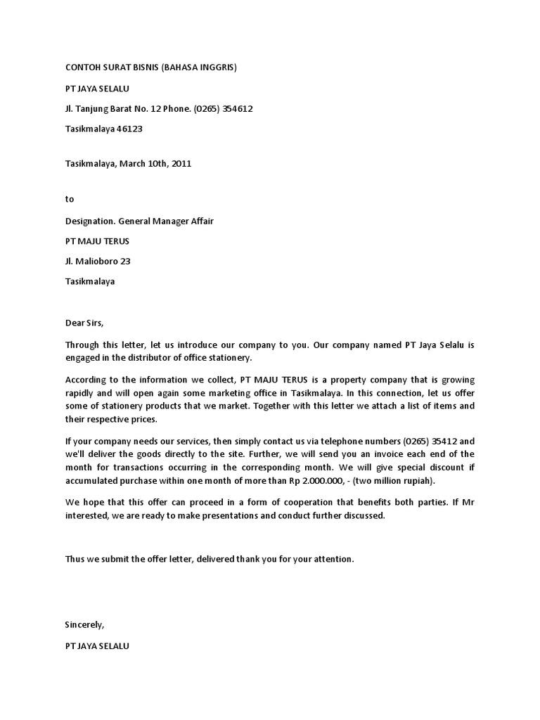 Contoh Surat Bisnis Versi Bahasa Inggris
