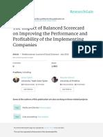 The Impact of Balanced Scorecard on Improving the