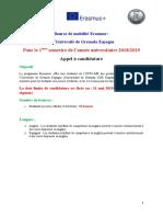 Appel Offre Bourse Mobilité Granada