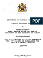 STATE OF THE NATION ADDRESS BY PETER MUTHARIKA, PRESIDENT OF THE REPUBLIC OF MALAWI ON THE OCCASION OF THE STATE OPENING OF THE 3RD MEETING IN THE 47TH SESSION OF PARLIAMENT AND 2018/2019 BUDGET MEETING LILONGWE