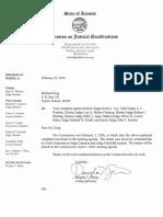 Kansas Commission On Judicial Qualifications complaint response against District Judge Robert W. Fairchild, District Judge Jeffry L. Jack, District Judge Kurtis I. Loy, Chief Judge A. J. Wachter, District Judge Lori A. Bolton Fleming, District Judge Robert J. Fleming, District Judge Oliver K. Lynch, Senior Judge Janice D. Russell, Senior Judge Richard M. Smith, and Senior Judge John E. Sanders Dated February 23rd, 2016