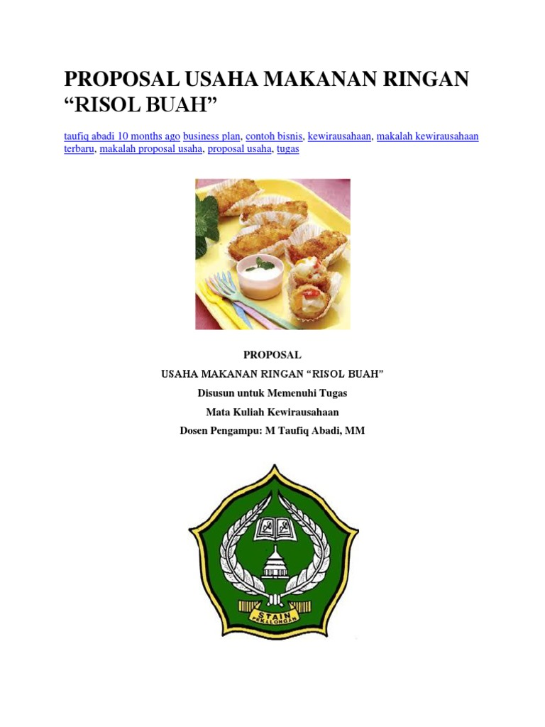 Proposal Kewiurausahaan Makanan 1