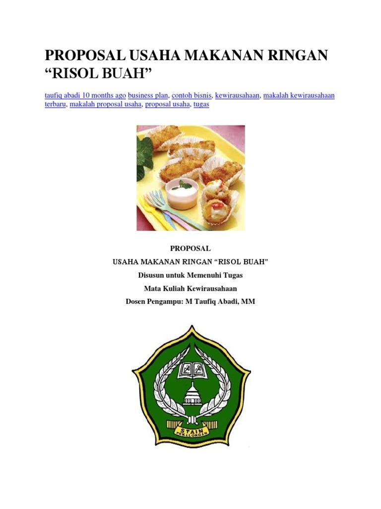 Contoh Business Plan Makanan Ringan