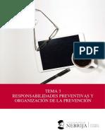 Tema 3. Responsabilidades Preventivas y Organización de La Prevención