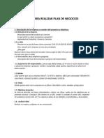 Guía Para Realizar Plan de Negocios Adaptada Ciie-plan de Materia
