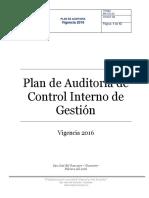 Plan de Auditoria Ci 2016
