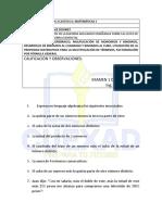 Examen de Nivelación Académica Mate 1