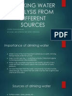 Drinking Water Analysis From Different Sources