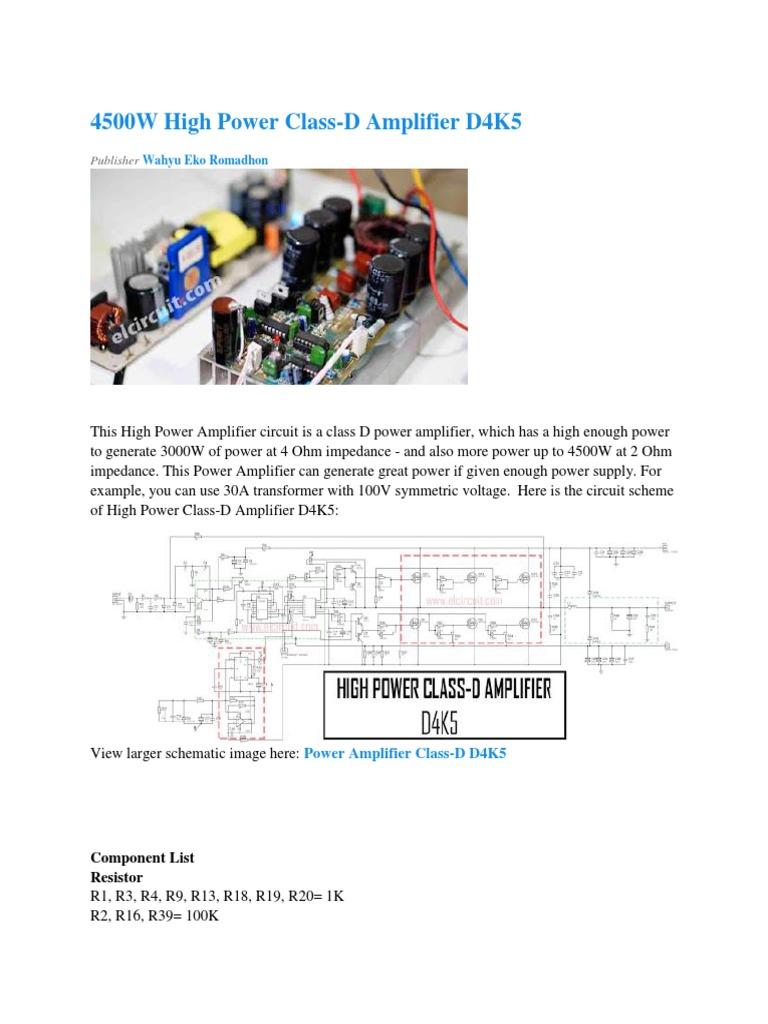 4500W High Power Class-D Amplifier D4K5 - Electronic Circuit