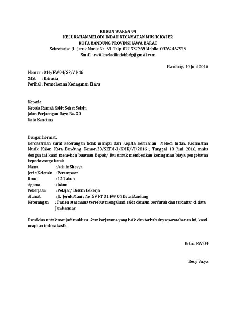 Surat Permohonan Keringanan Biaya Kuliah Dapatkan Contoh