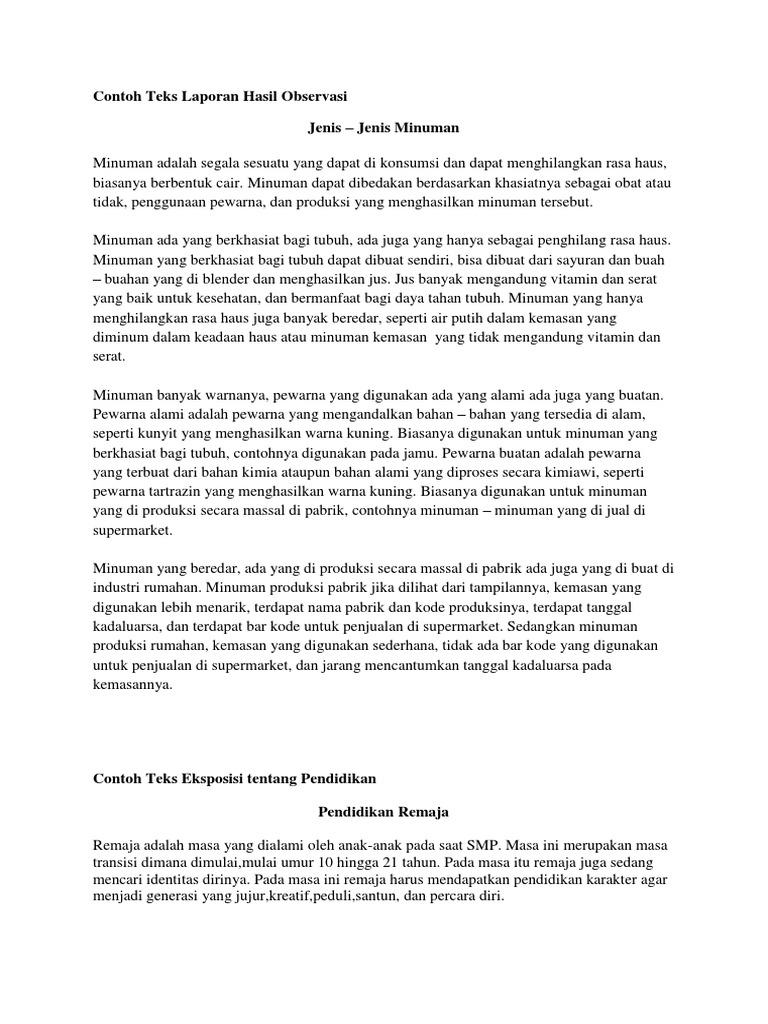 Teks Laporan Hasil Observasi Tema Pendidikan Seputar Laporan
