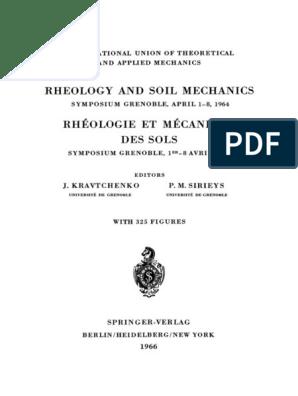 Rheology And Soil Mechanics Rh Ologie Et M Canique Des Sols