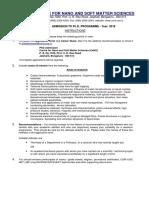 Application Form PhD CeNS 2018