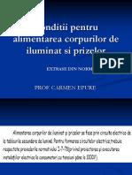 Conditii Pentru Alimentarea Corpurilor de Iluminat Si Prizelor