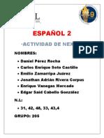 Actividad de Nexus Español 2 Etapa 3