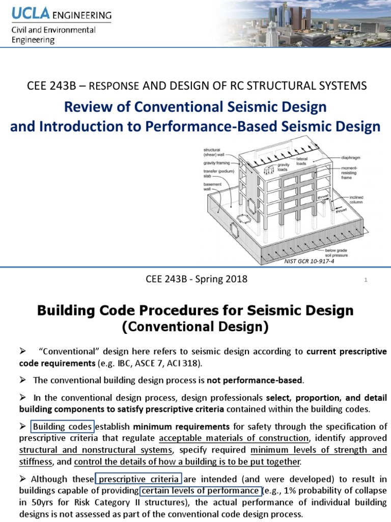 review of conventional seismic design intro to performance based design building code earthquakes