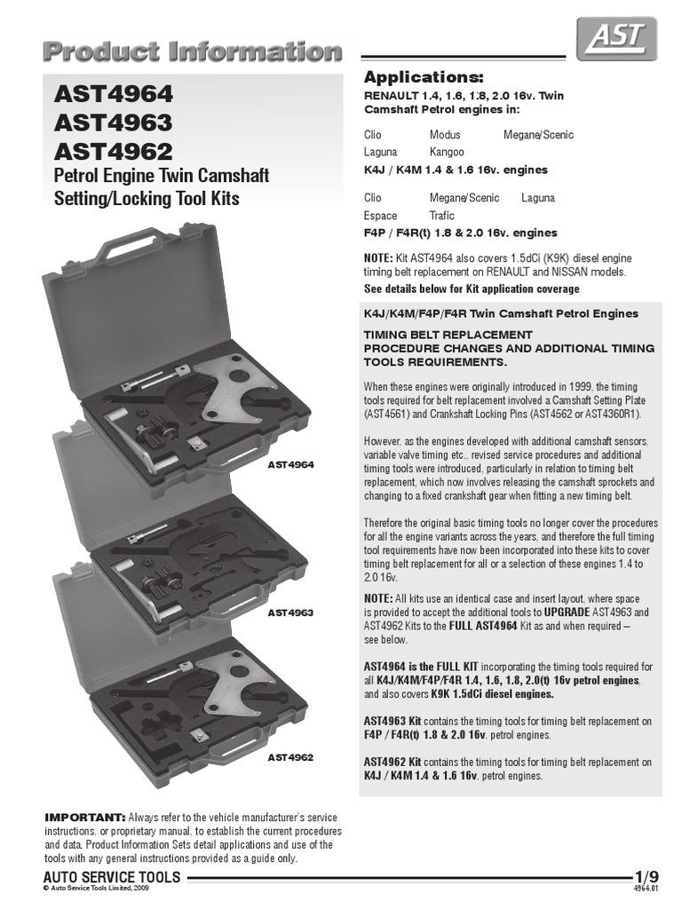 Petrol Engine Twin Camshaft Setting-locking Tool Kits | Belt