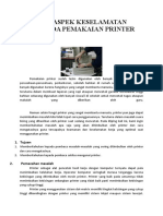 Aspek Keaspek Keselamatan Kerja Pada Pemakaian Printer