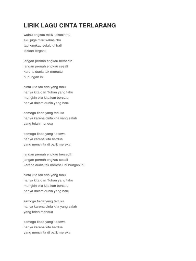 Lirik Lagu Cinta Terlarang Ilir7