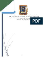 Programacion de Actividades de Mantenimiento